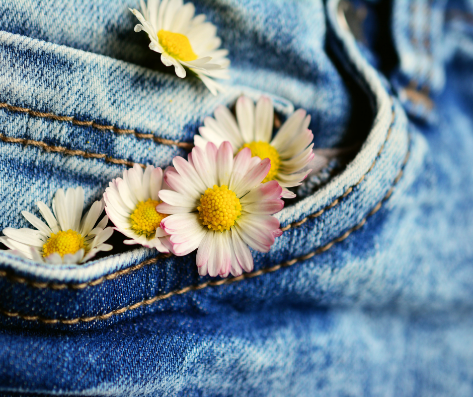 close up of jeans with flowers in the pocket | Funeral Pre-Planning | Overnight Caskets